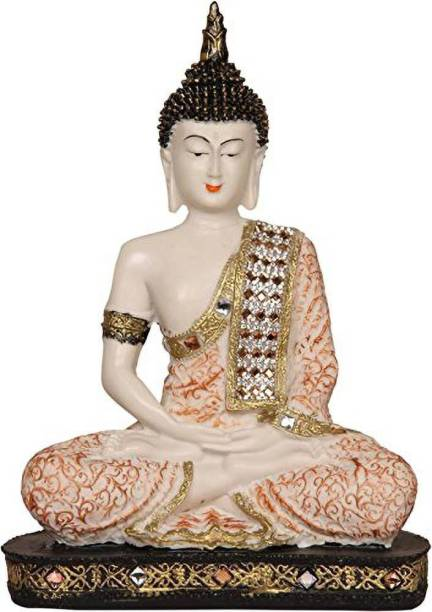 Brothers Creation Handcrafted Polyresin Meditating Lord Buddha Idol Decorative Showpiece 24 CM (Multicolour) Decorative Showpiece  -  24 cm