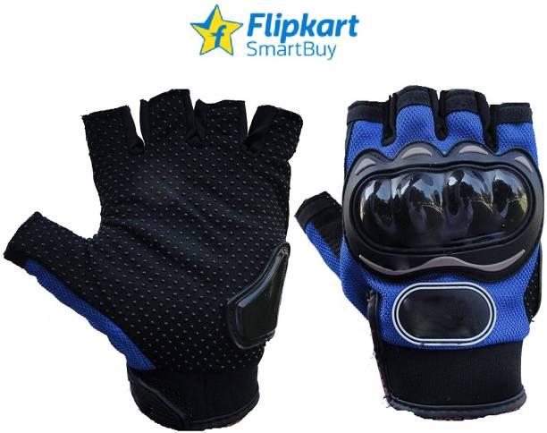 Flipkart SmartBuy Half Cut Blue Gloves_L Riding Gloves
