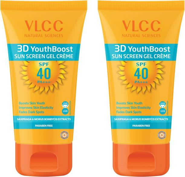 VLCC 3D Youth Boost SPF40 PA+++ Sun Screen Gel Creme(50gm) Pack of 2 - SPF 40 PA+++