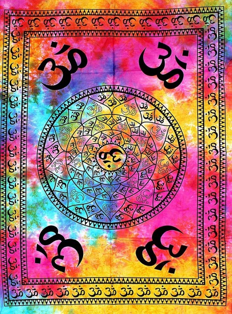 Indian Good Loking Multi Color Om Desgin Picture Small Cotton Tapestry Poster