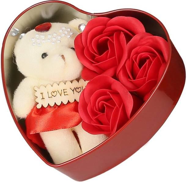Khatu Crafts Soft Toy, Artificial Flower Gift Set