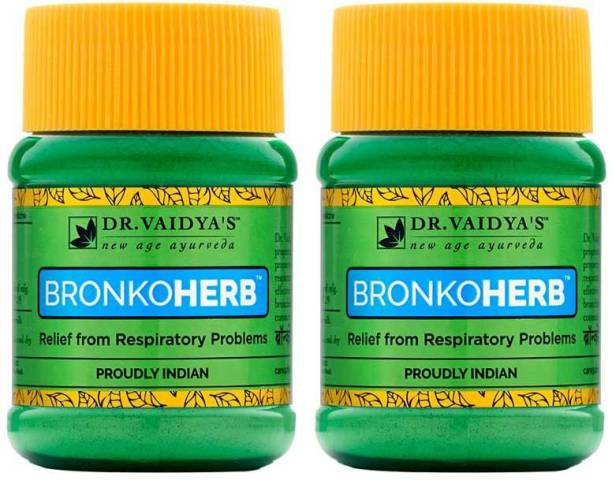 Dr. Vaidya's Bronkoherb Churna - Ayurvedic Relief from Breathing and Respiratory Problems - Pack of 2
