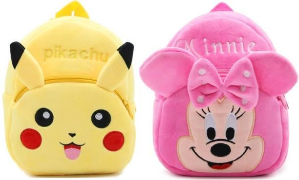 DZert Minnie and Pikachu School Bag For Kids/ Nursery Bag (Age 2 - 6 Years) Plush Bag