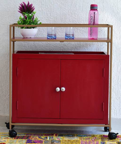 SamDecors Solid Wood Adam Multipurpose Bar Trolley with Wheels with Two Door Red Cabinet and Iron Frame in Golden Finish Solid Wood Bar Trolley