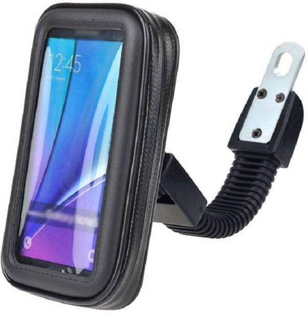 Mankrit Weather Resistant Smartphone Mount Waterproof Zip Pouch Case Scooty Rearview Mirror Stand Bike Mobile Holder