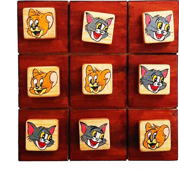 Scrapshala TOM AND JERRY WOODEN TIC TAC TOE Strategy & War Games Board Game