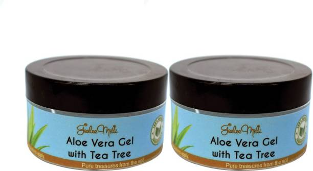 Geeleemitti Aloe Vera with Tea-Tree Gel for Cleaning Face, Anti-Ageing Effects, Acne & Scar Removal, Pimple Removal and Facial Radiance with Tea-Tree & Lemongrass Combo Pack of 2 x 75g