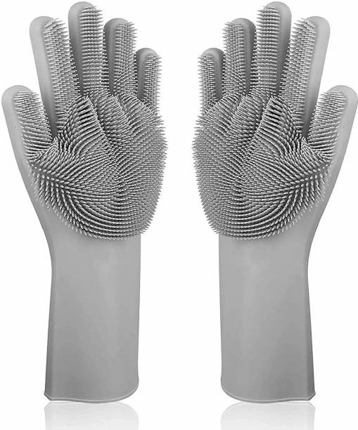 BRANDSHOPPY Silicone Scrubbing Gloves for Dish Washing and Pet Grooming (Free Size) Wet and Dry Glove Set