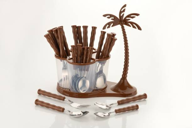 Lion Lender Extra Ordinary 24 pcs Revolving Coconut Cutlery Set(Brown)) Stainless Steel, Plastic Cutlery Set