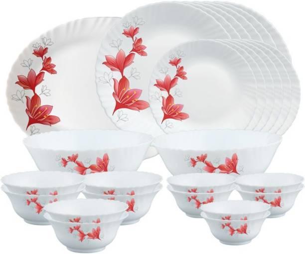 Larah by Borosil Pack of 27 Opalware Dinner Set