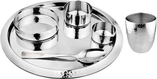 Shri & Sam Pack of 6 Stainless Steel 6 PCS Hammered Thali Set - King Dinner Set