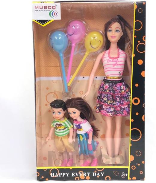 Mubco Mamma Doll with 2 Little Kids | 3 Smile Balloons (Pink)