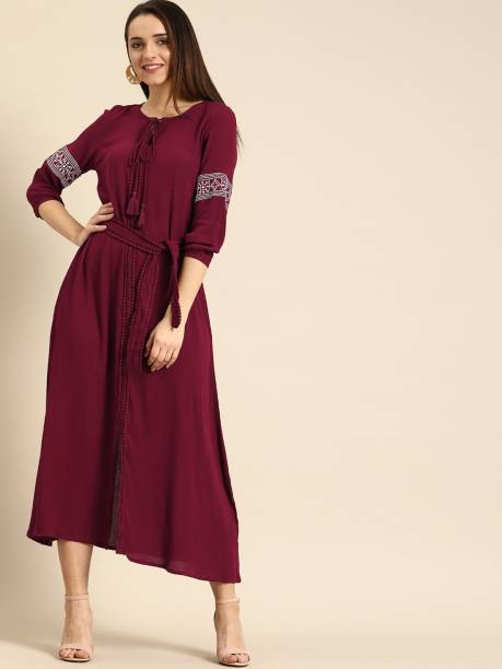 Dressberry Women Fit and Flare Maroon Dress