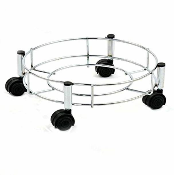 Toxham Steel Cylinder Trolley with Wheels | Gas Trolly/LPG Cylinder Stand Pack, Silver Gas Cylinder Trolley