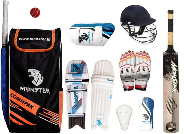 Monster Academy Comfipak Camo Cricket Set Of 4 No ( Ideal for 8-10 Years ) Complete Cricket Kit