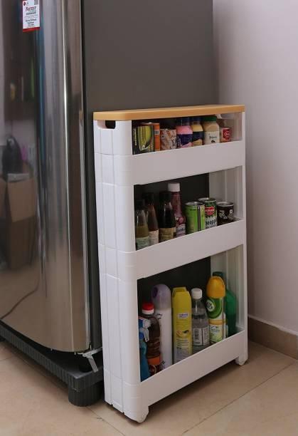 Kurtzy Kitchen Storage Rack Shelf Organizer With Plastic Wheels Plastic Kitchen Trolley