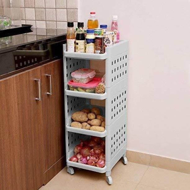Kurtzy Kurtzy Vertical Rack 4 Layer Storage Organizer with wheels for Kitchen(Grey) Plastic Kitchen Trolley