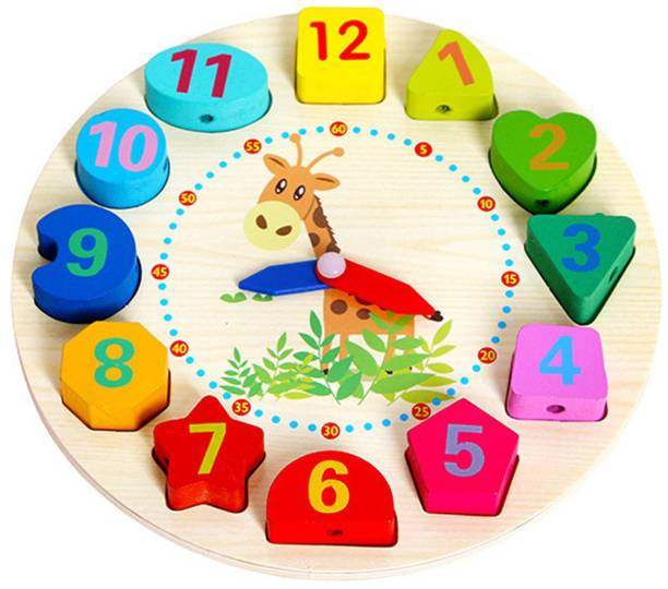 Wishkey Wooden Learning Clock With Bead Lace, Educational Digital Analog Numbers, Shape & Color Learning For Kids Montessori Toy