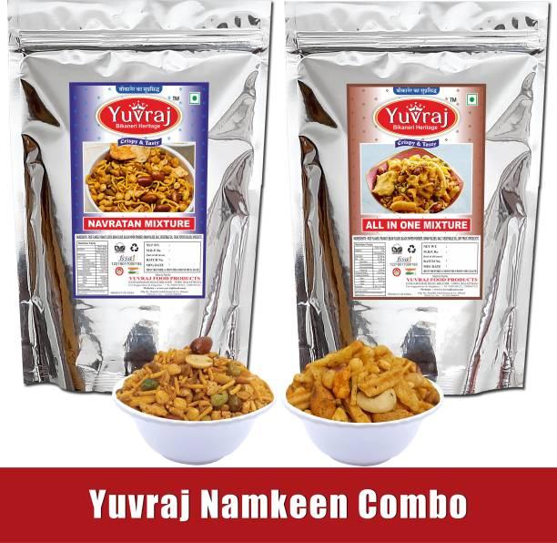 Yuvraj Food Product Yuvraj Food Bikaneri Namkeen Combo of Bikaneri Navratan Mixture 400gm & All In One 400gm