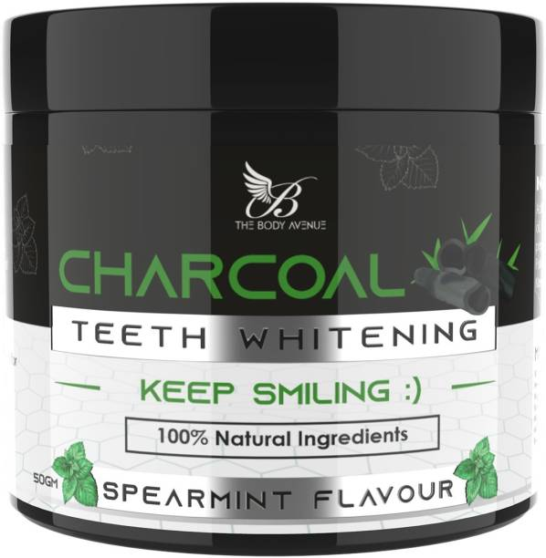 The Body Avenue Activated Charcoal Teeth Whitening Powder for Natural Teeth Whitening, Freshen Breath, Remove Stains, Fight Cavities with Coconut Charcoal Powder, Clove Oil, Orange Oil, Peppermint Oil