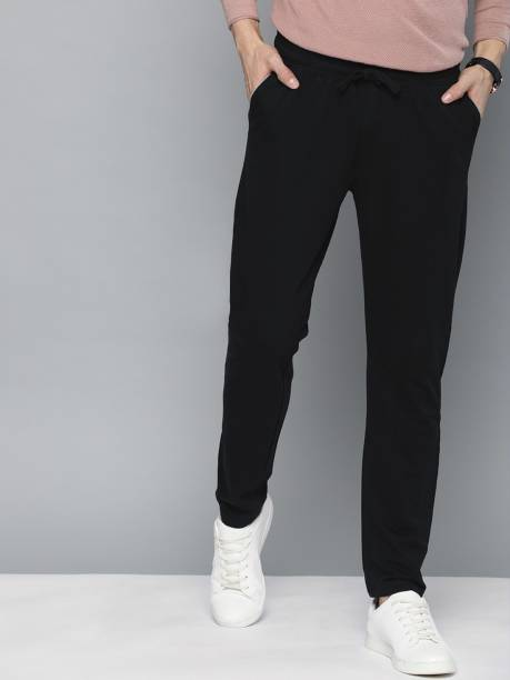 MAST & HARBOUR Solid Men Black Track Pants