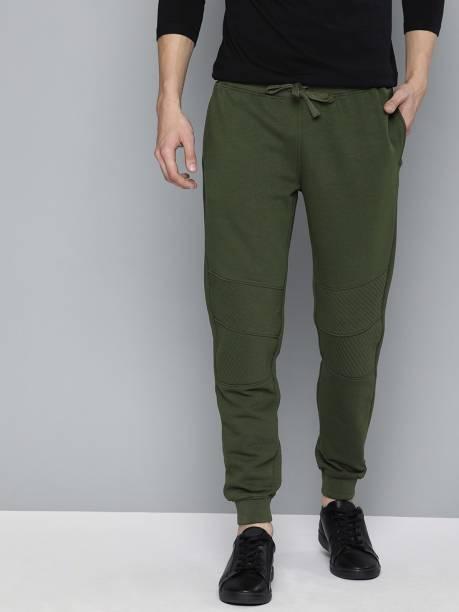 MAST & HARBOUR Solid Men Dark Green Track Pants