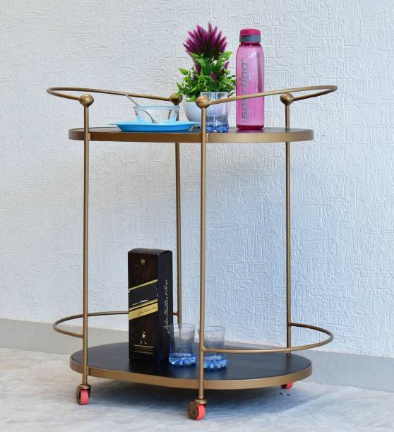 SamDecors Solid Wood Gail Multipurpose Bar Trolley with Wheels with Two Shelves in Black Finish and Iron Frame in Golden Finish Solid Wood Bar Trolley