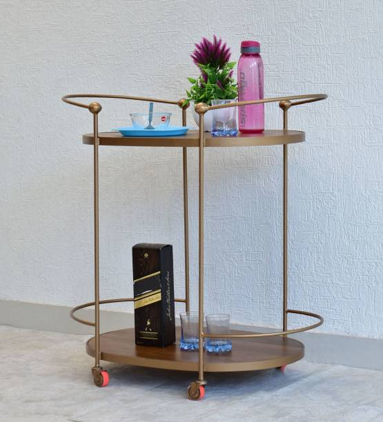 SamDecors Solid Wood Gail Multipurpose Bar Trolley with Wheels with Two Shelves in Natural Brown Finish and Iron Frame in Golden Finish Solid Wood Bar Trolley