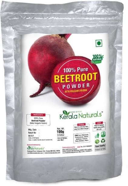 Kerala Naturals Pure Beetroot (Beta vulgaris rubra) Powder 100gm - For Healthy Hair Growth and Skin Care KN076 Medium Hair Volumizer powder