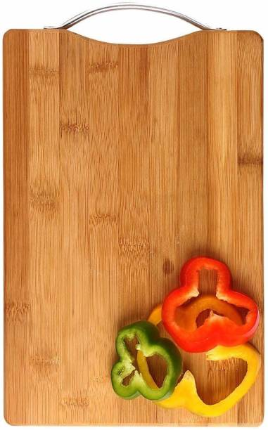 LAXIT Large Non-Slip Wooden Bamboo Cutting Board with Antibacterial Surface with Stainless Steel Handle, Chopping Board for Kitchen, Cutting Board for Kitchen (Wood) Wooden Cutting Board