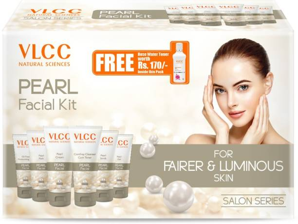 VLCC Pearl Facial Kit + FREE Rose Water Toner Worth Rs 170 | 300gm + 100ml
