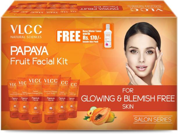 VLCC Papaya Fruit Facial Kit + FREE Rose Water Toner Worth Rs 170 | 300gm + 100ml