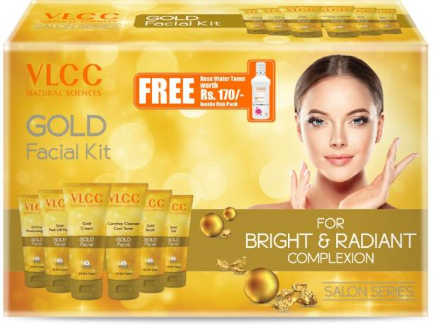 VLCC Gold Facial Kit for Bright & Radiant Complexion (Set of 5)