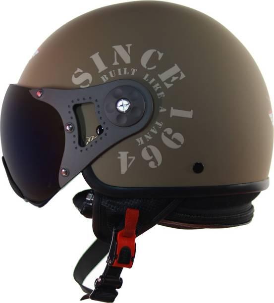 Steelbird SB-27 7Wings Tank Open Face Graphic Helmet in Matt Desert Storm/Desert Storm Motorbike Helmet