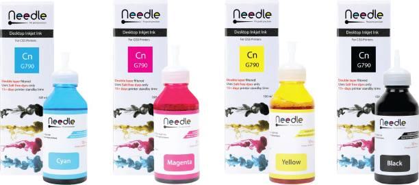 Needle 4x100 ml GI 790 Cn GI790 ink tank inkjet compatible with Canon G1000, G1010, G2000, G2010, G3000, G3010, G4000, G4010 Black + Tri Color Combo Pack Ink Bottle