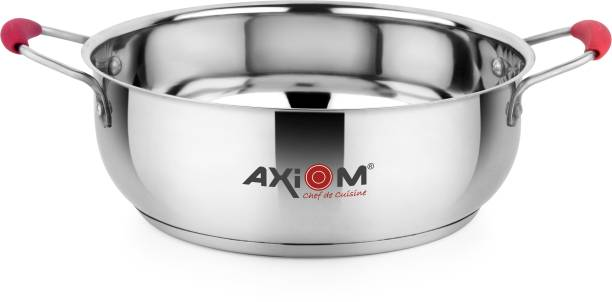 AXIOM KHADAI 3000 ML Stainless Steel. Gas & Induction Bottom (TRIPLY Base Heavy Gauge Kadai/khadai with Silicon Stay Cool Handles 3 Litre / 25 cm) Kadhai 25 CM