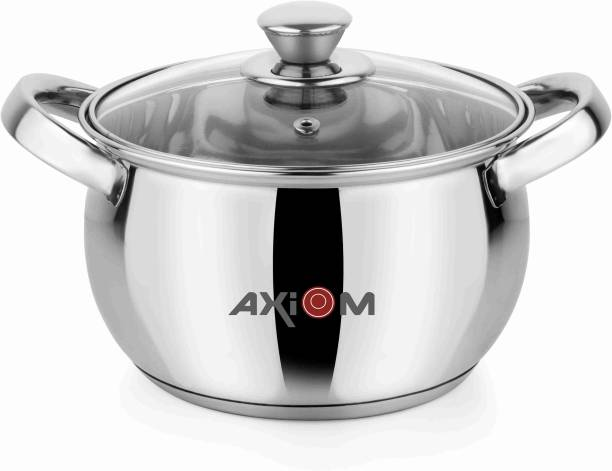 AXIOM Stainless Steel Cook & Serve Handi 1.5 Litre with Induction encapsulated Base & Glass lid (18 cm Casserole/ 1500 ML SAUCEPOT) Handi 1.5 L with Lid