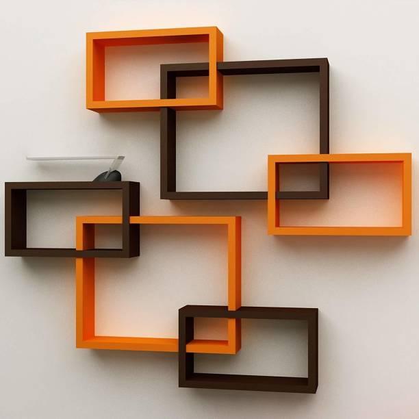 Onlineshoppee Intersecting MDF (Medium Density Fiber) Wall Shelf