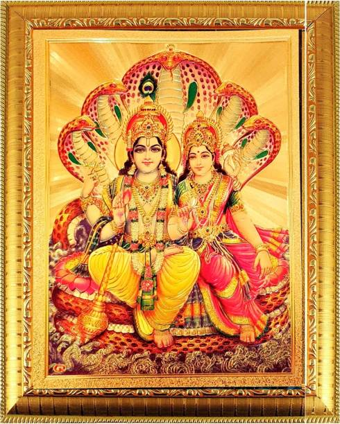 SUNINOW Lord Vishnu Goddess Laxmi ji Religious Frame