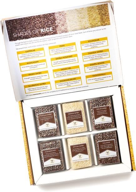 Namma Nellu Traditional Rice Gift Box - (The Luxury Collection) Includes 6 Rice Varieties - Mappillai Samba, Kitchili Samba, Seeraga Samba, Kullakar, KarunKuruvai & Kuzhiadichan Red Rice (Medium Grain, Unpolished)
