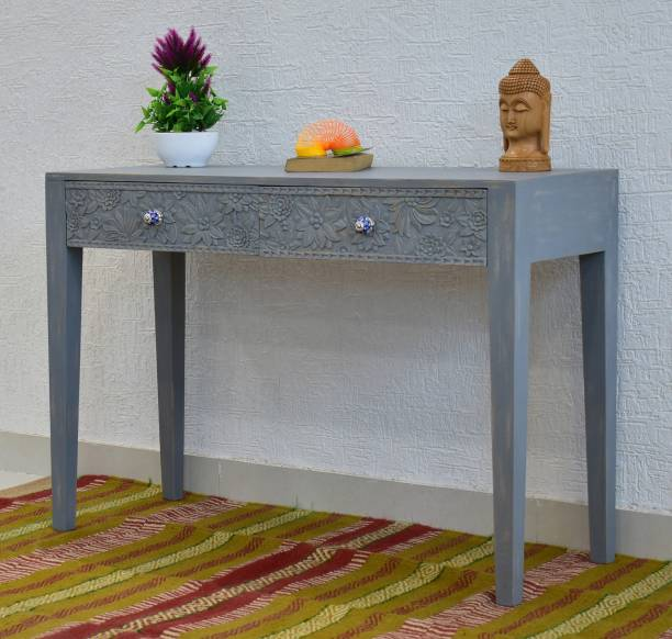 SamDecors SamDecors Solid Wood Two Drawer Evan Carving Console Hall Table Rustic Grey Solid Wood Console Table