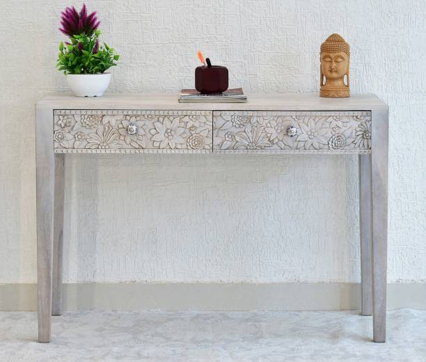 SamDecors Solid Wood Two Drawer Evan Carving Console Hall Table White Solid Wood Console Table