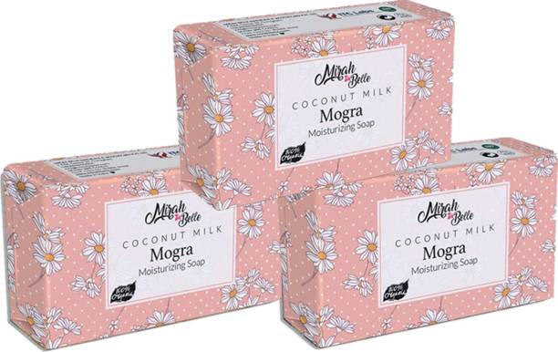 Mirah Belle Coconut Milk, Mogra Dry Skin Soap (375 g) - (Pack of 3), Dry, Damaged, Flaky Skin. Vegan, Handmade, Cruelty Free, SLS, Paraben, GMO-Free.