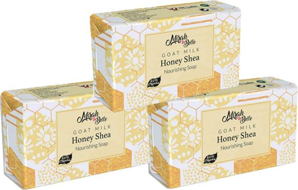 Mirah Belle Goat Milk, Honey Shea Butter Soap (375 g) -(Pack of 3) , Unscented, Hypoallerginic, Fragrance Free, Good for Eczema, Psoriasis, Babies, and Sensitive Skin. Handmade, Cruelty Free, SLS, Paraben, GMO-Free.
