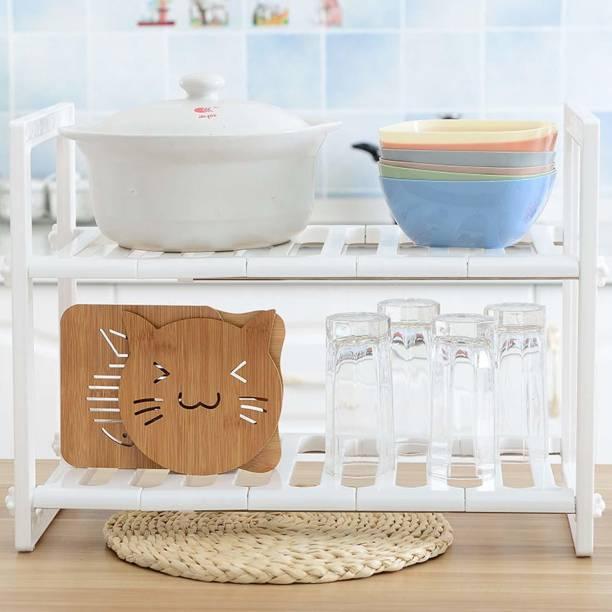 Kurtzy Extendable Under Sink Tawa Rack Shelf Storage Organizer Holder Plastic Kitchen Cabinet