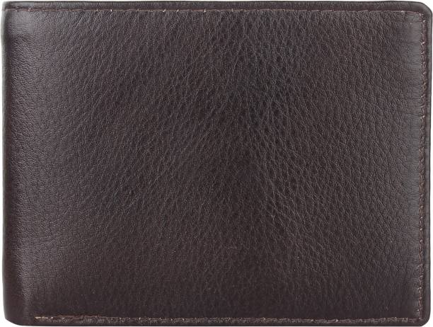 SAIQA Men Casual Brown Genuine Leather Wallet