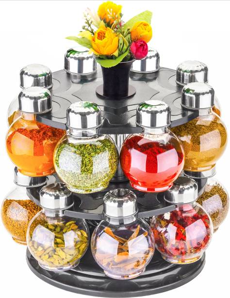 Cloudtail 360° Spice Jars Masala Jars Spice Box Masala Box Spice Container Masala Container Set Of 16  - 250 ml Plastic, Steel Grocery Container