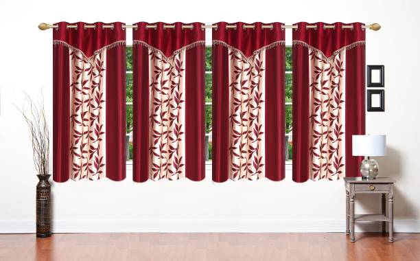Ville Style 153 cm (5 ft) Polyester Window Curtain (Pack Of 4)