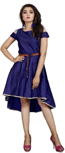 DELIZIA Women High Low Blue Dress