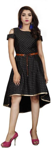 DELIZIA Women High Low Black Dress